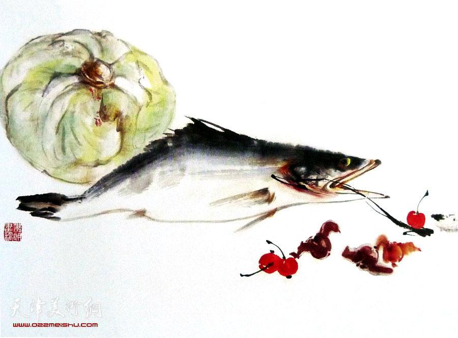 萧朗花鸟小品画作:《美味》1983年