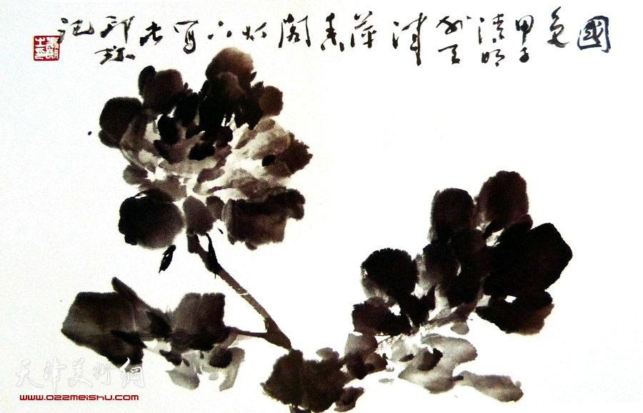 萧朗花鸟小品画作:《国色》1984年