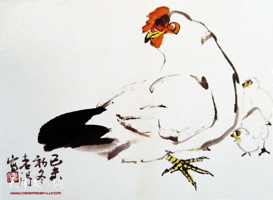 萧朗花鸟小品画作:《教子图》1979年