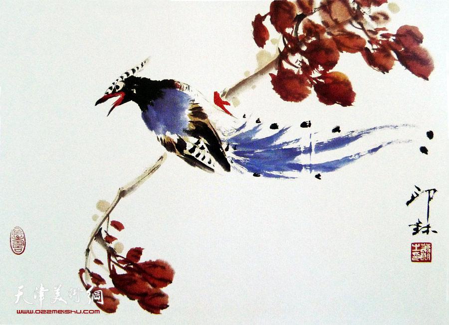 萧朗花鸟小品画作:《绶带》1998年