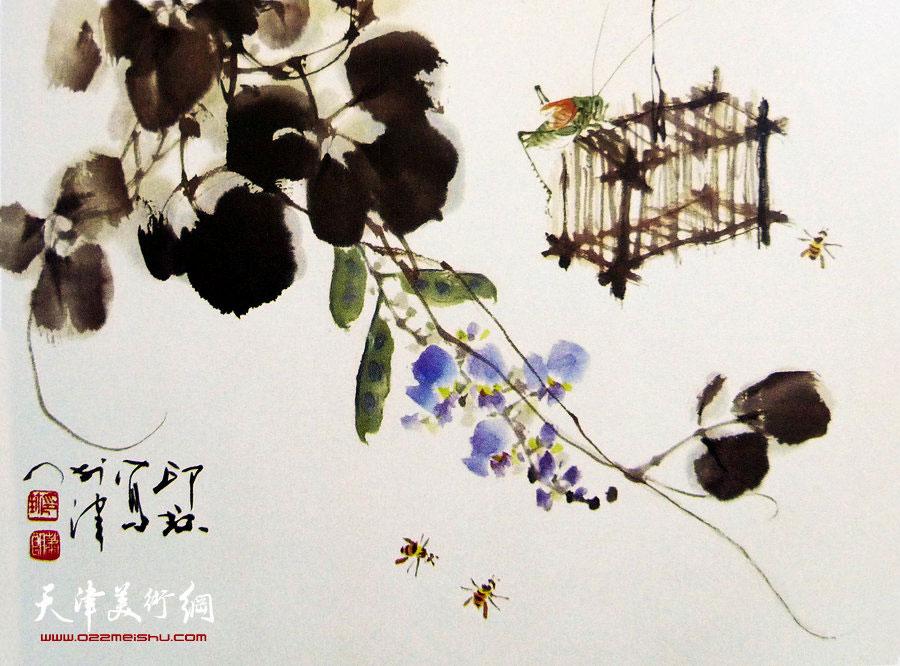 萧朗花鸟小品画作:《秋趣》1998年