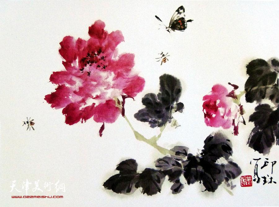 萧朗花鸟小品画作:《天香》1998年